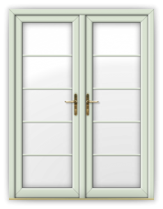 French Door white foil vertical georgian bars
